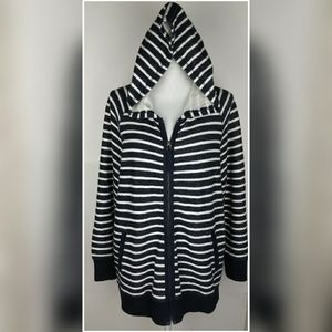 Andrea Jovine cotton stripped zip hooded sweater